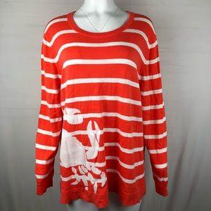 Crown & Ivy Crab Sweater 3X Orange/white striped